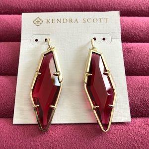 Kendra Scott Red Glass Stone Earrings